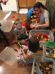 Kids playing with Ian