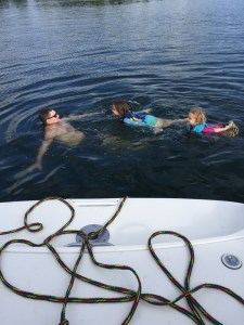 Will, Meg, and Sylvai swimming