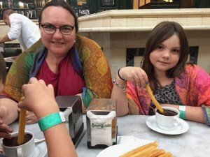 Meg and Clare enjoying churros dipped in hot chocolate