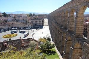 Central Segovia with aqueduct