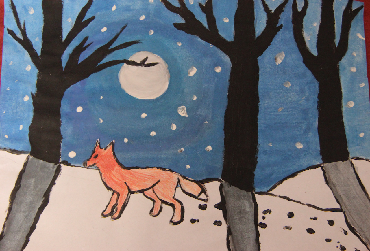 Fox-at-night-in-the-forest-during-winter