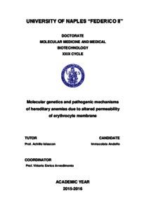 Molecular genetics and pathogenic mechanisms of hereditary