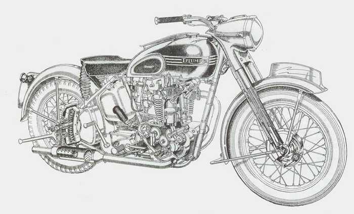 motorcycle: A Triumph Thunderbird 1953