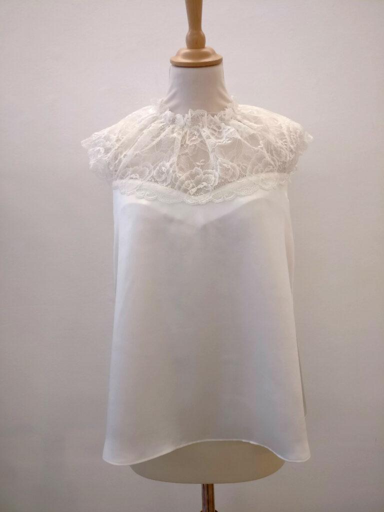 Haut en dentelle de Calais mariage par Fée au Château créations couture à Versailles