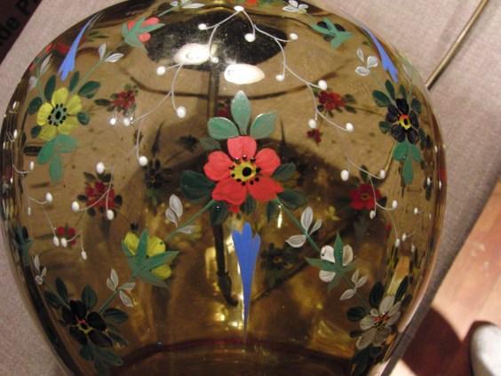 Tischlampe Glas Blumen bemalt 1940 12