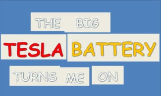 "Photo: A banner saying ""The big tesla battery turns me on"""