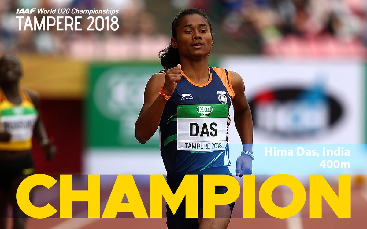 world under 20 athletics,track event,hima das,400m gold