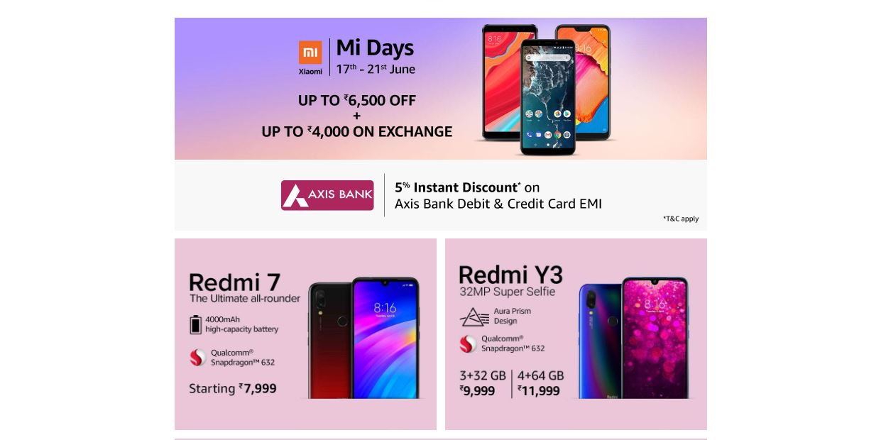 Amazon Mi Day Sale, Xiaomi Mi Days Sale, Xiaomi smartphones, xiaomi redmi note 7 pro, xiaomi redmi note 6 pro, Redmi, mi fan, Amazon sale