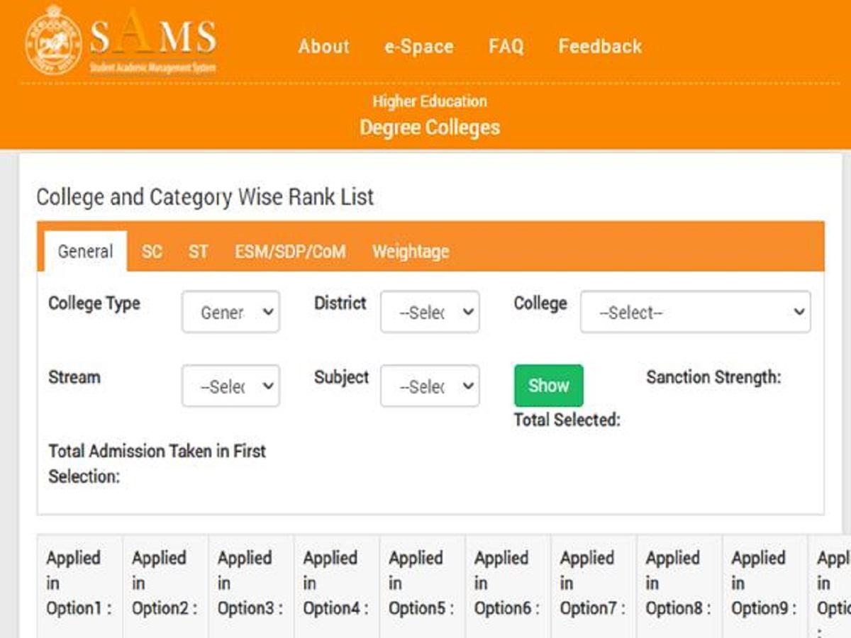SAMS Odisha plus 3 second merit list 2020