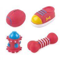 Ancol Small Bite Puppy Soft Vinyl Squeaky Dog Toy Pack 4