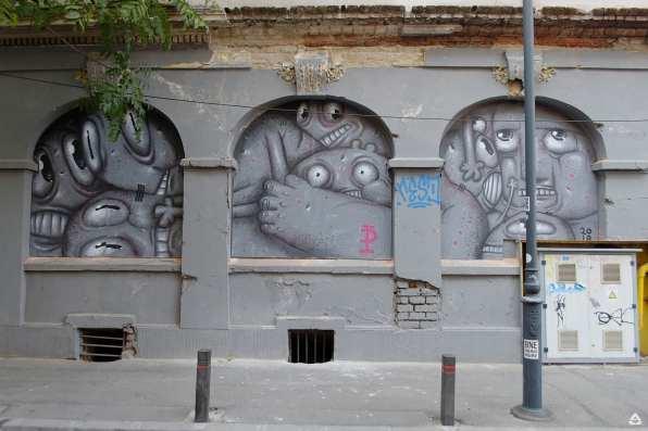 Un-hidden Bucharest street art intervention Pisica Pătrată M60