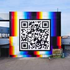 Felipe Pantone spray painted QR code in Belgium A statement about UBIQUITY