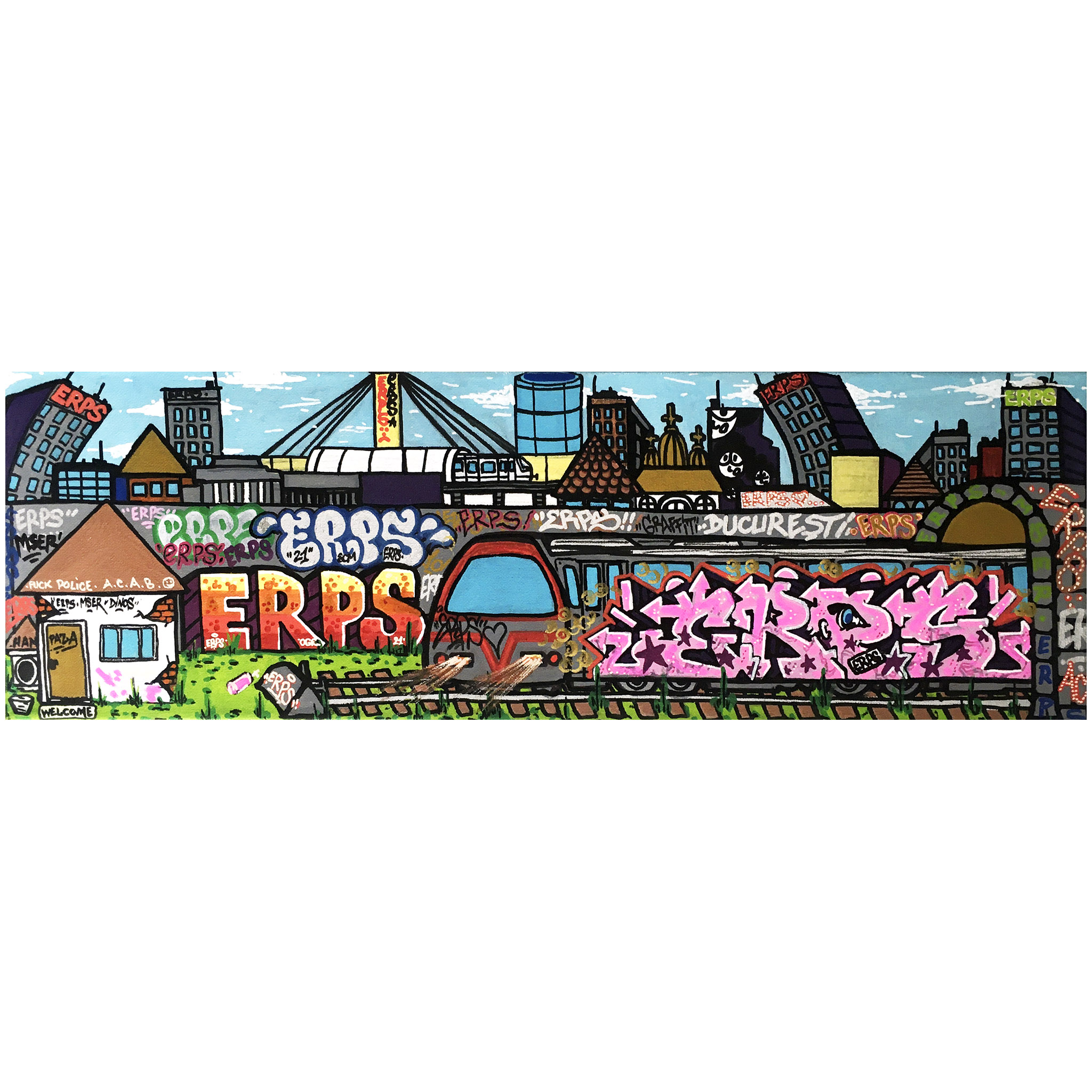 One of a kind artwork by graffiti legend ERPS painting on canvas
