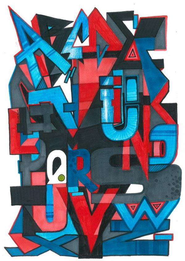 Homeboy LDJ graffiti alphabet sketch