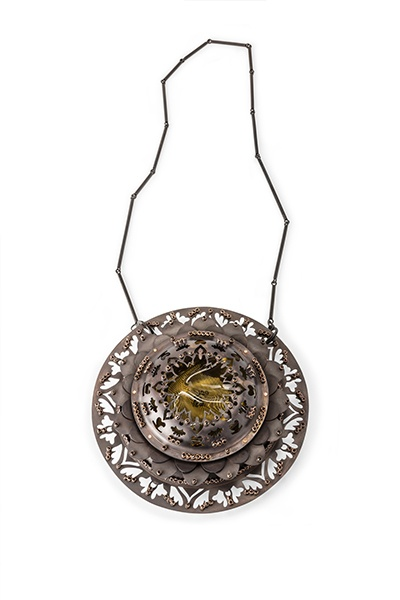 Holland Houdek - Canada neckpiece Nelumbo Mastoplasty -Lotus Breast Replacement copper-siliconebreastimplant-crystals 51 x 18 cm
