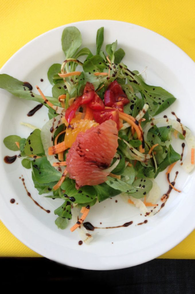 salad drizzled with fine olive oil, and locally produced Traditional Balsamic Vinegar