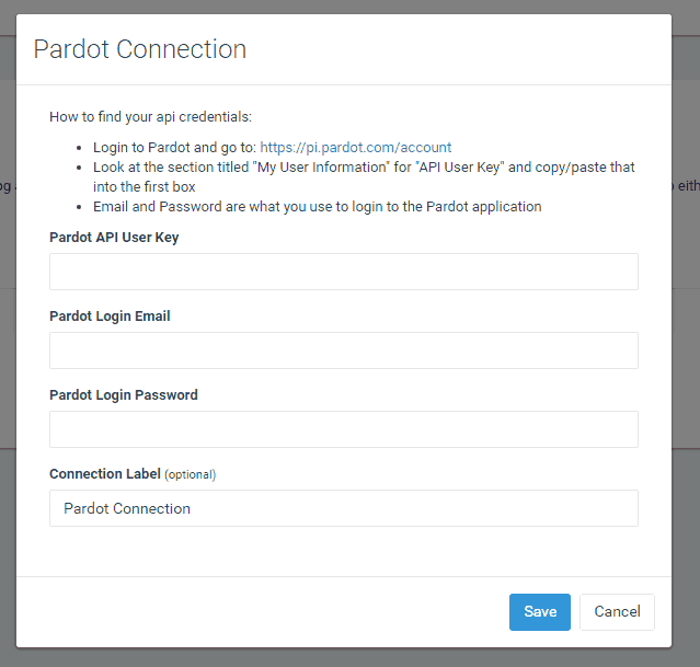 Enter your Pardot api credentials