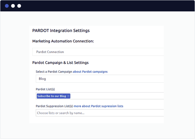 Select a Pardot Blog Subscriber List