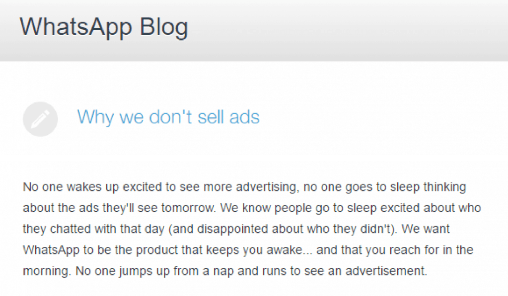 why whatsapp doesn't sell ads