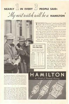 1934 Hamilton Vintage Print ads