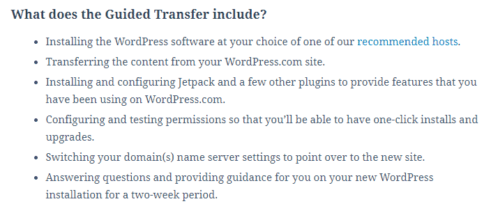 wordpress guided transfer