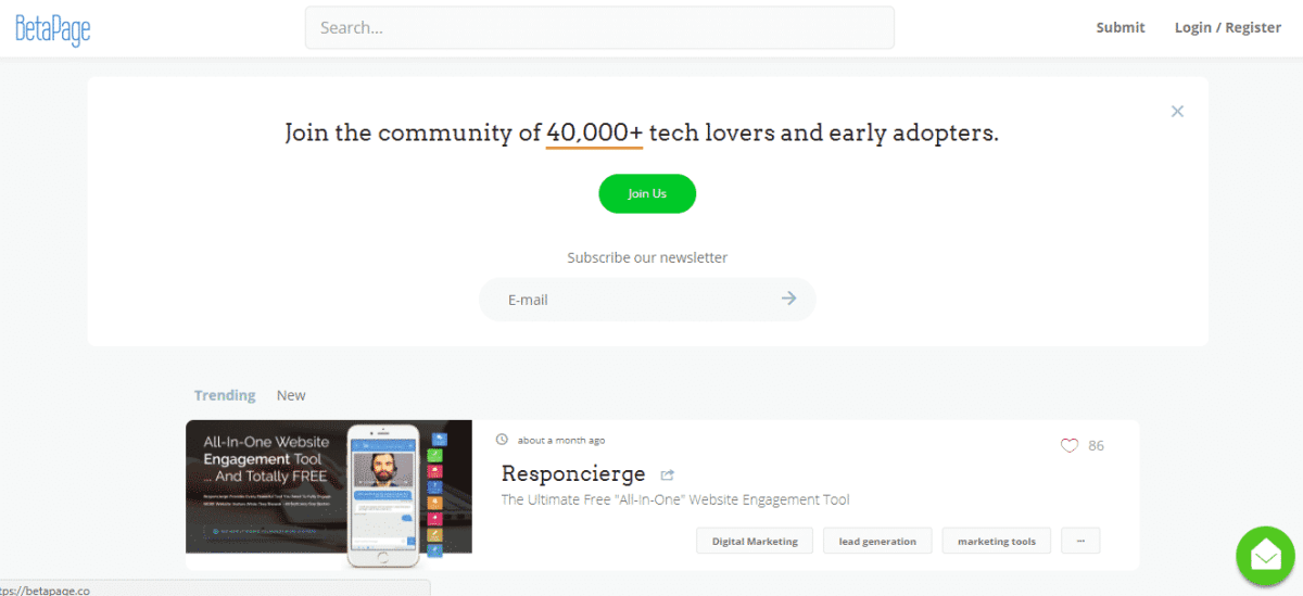 beta page