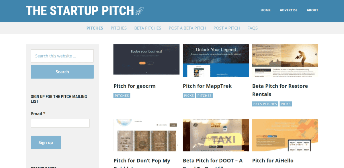 the startup pitch startup listing