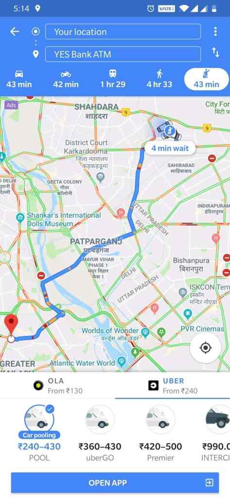 Google Maps Uber Partnership