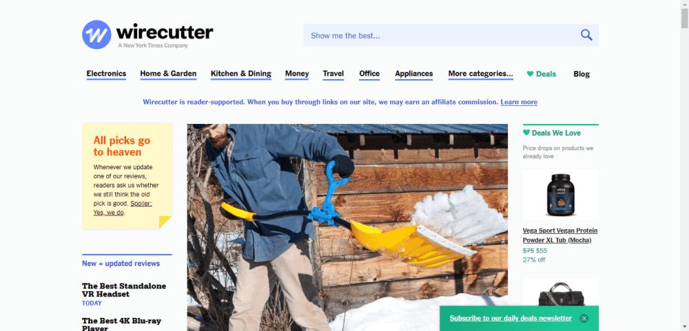 wirecutter affiliate website