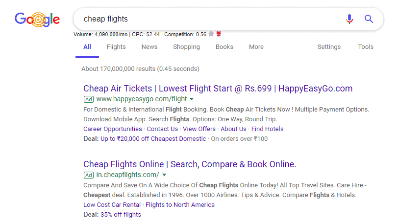 cheap flights ad