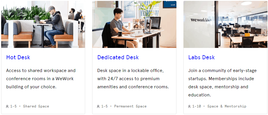 wework desk spaces