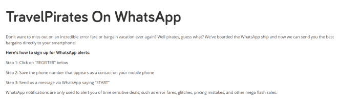 travel pirates special offers on whatsapp
