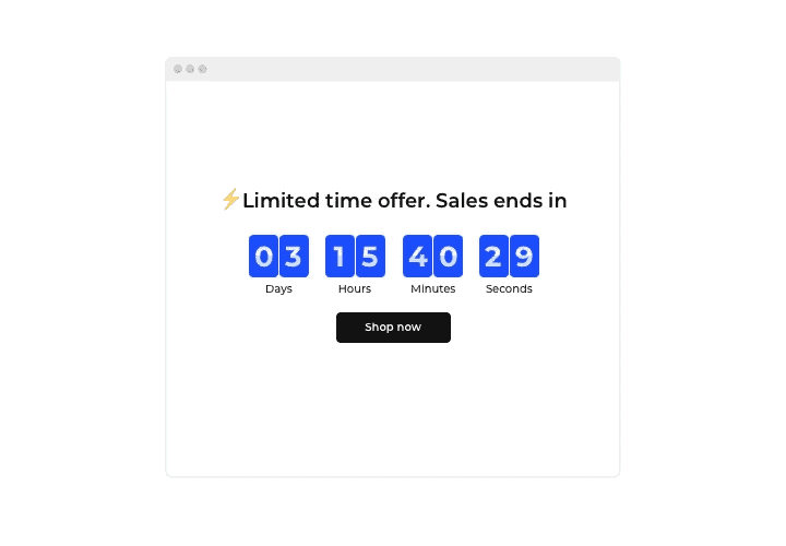 sale ends in timer