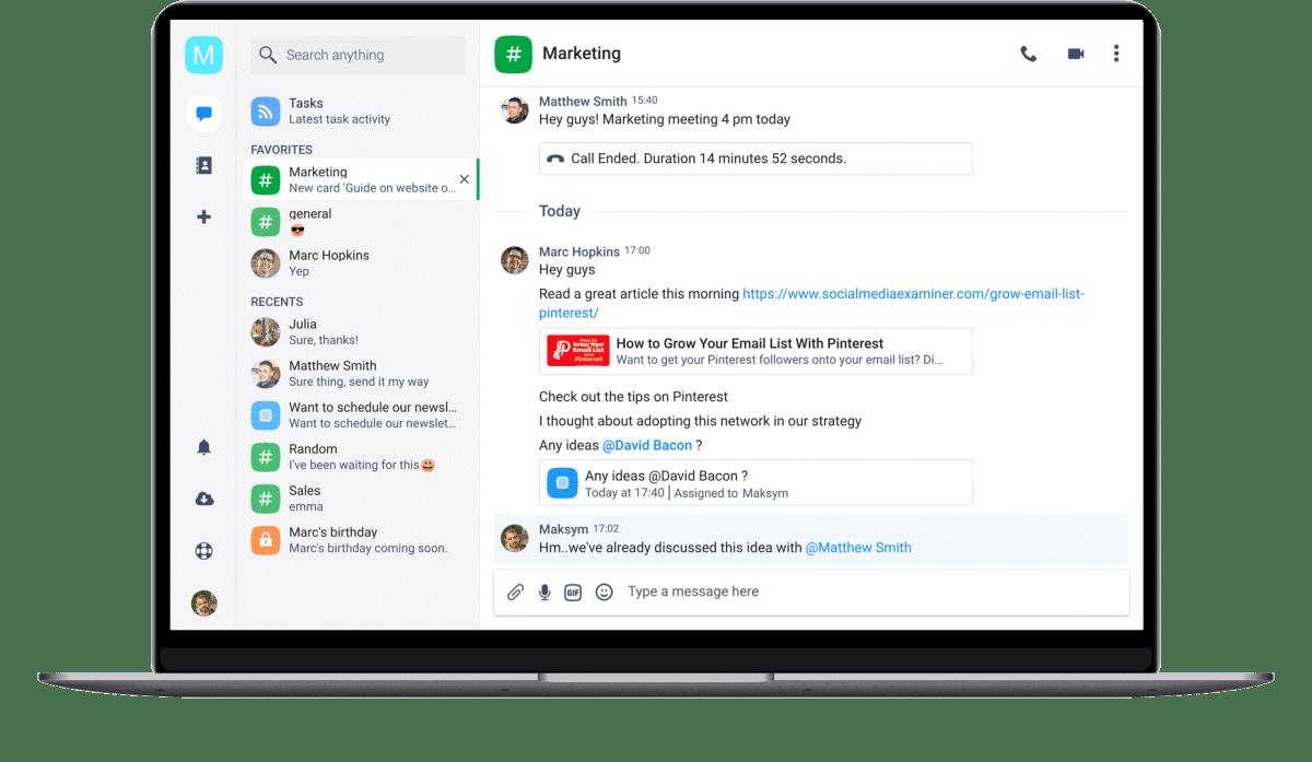 chanty user interface