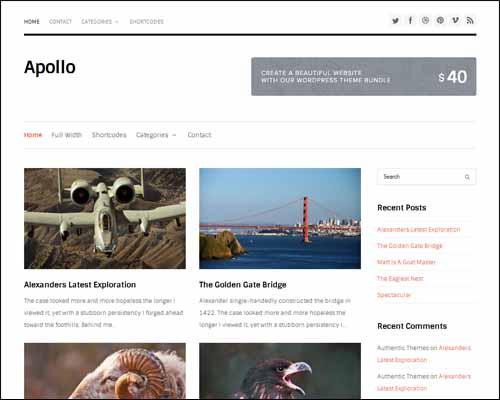 Apollo wordpress theme