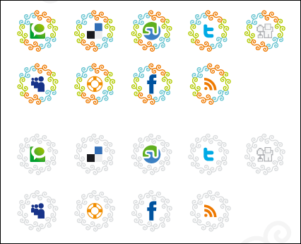 Curly Vector Social Icons