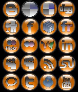 Orange Orb Social Media Icons