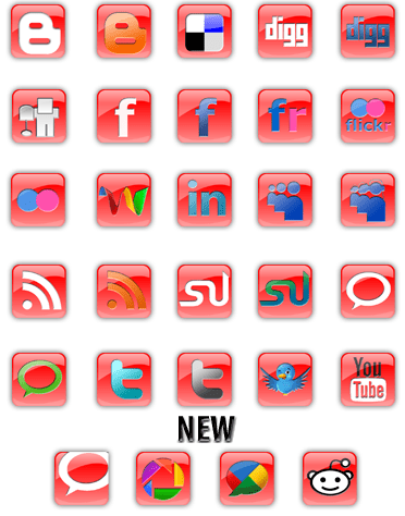 Red Square Social Media Icons
