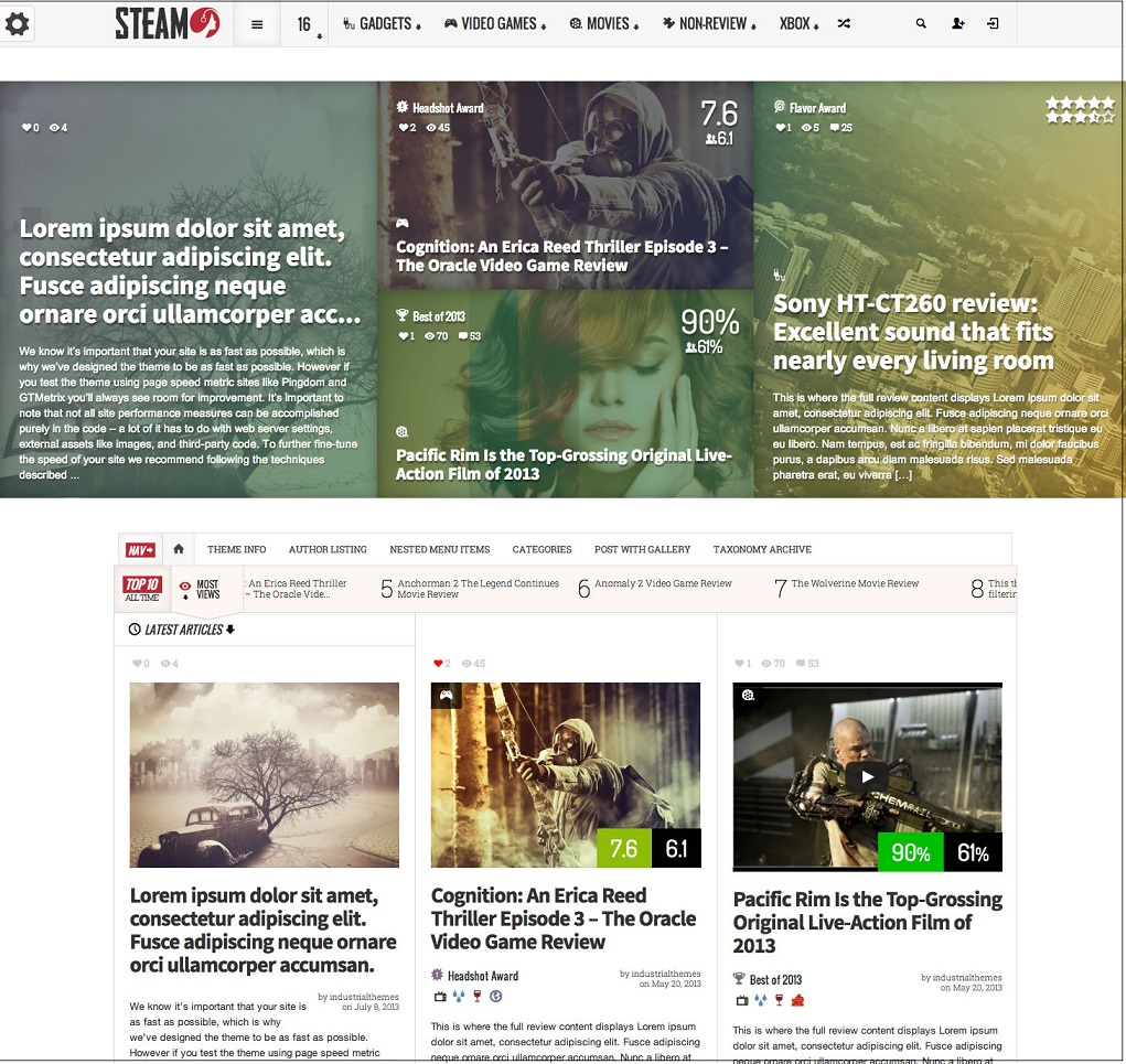 Steam wordpress theme