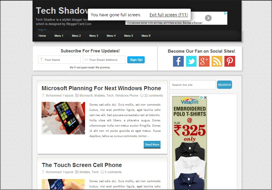 Tech Shadow Blogger Template