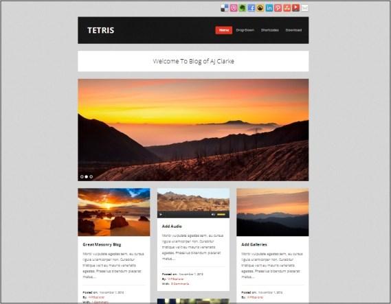 Tetris Masonry Tumblog WordPress Theme