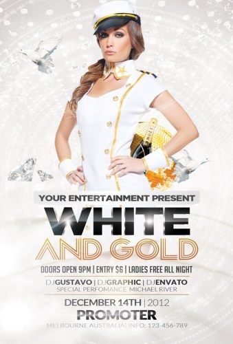 White and Gold Party Flyer Template