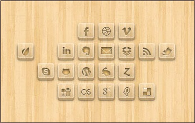 Wood Engraved Social Media Icons