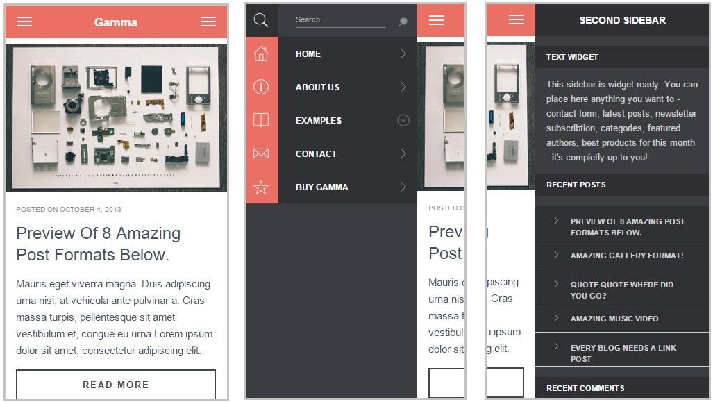 Gamma mobile wordpress theme