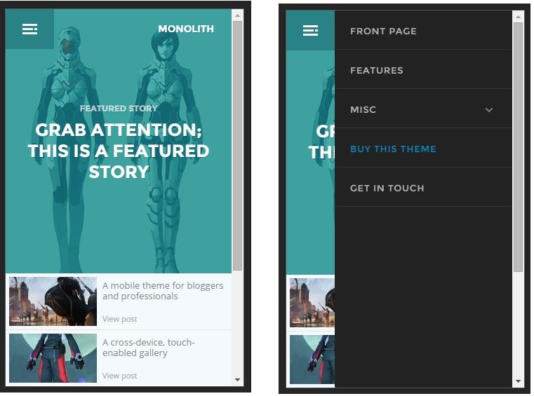 Monolith mobile wordpress theme