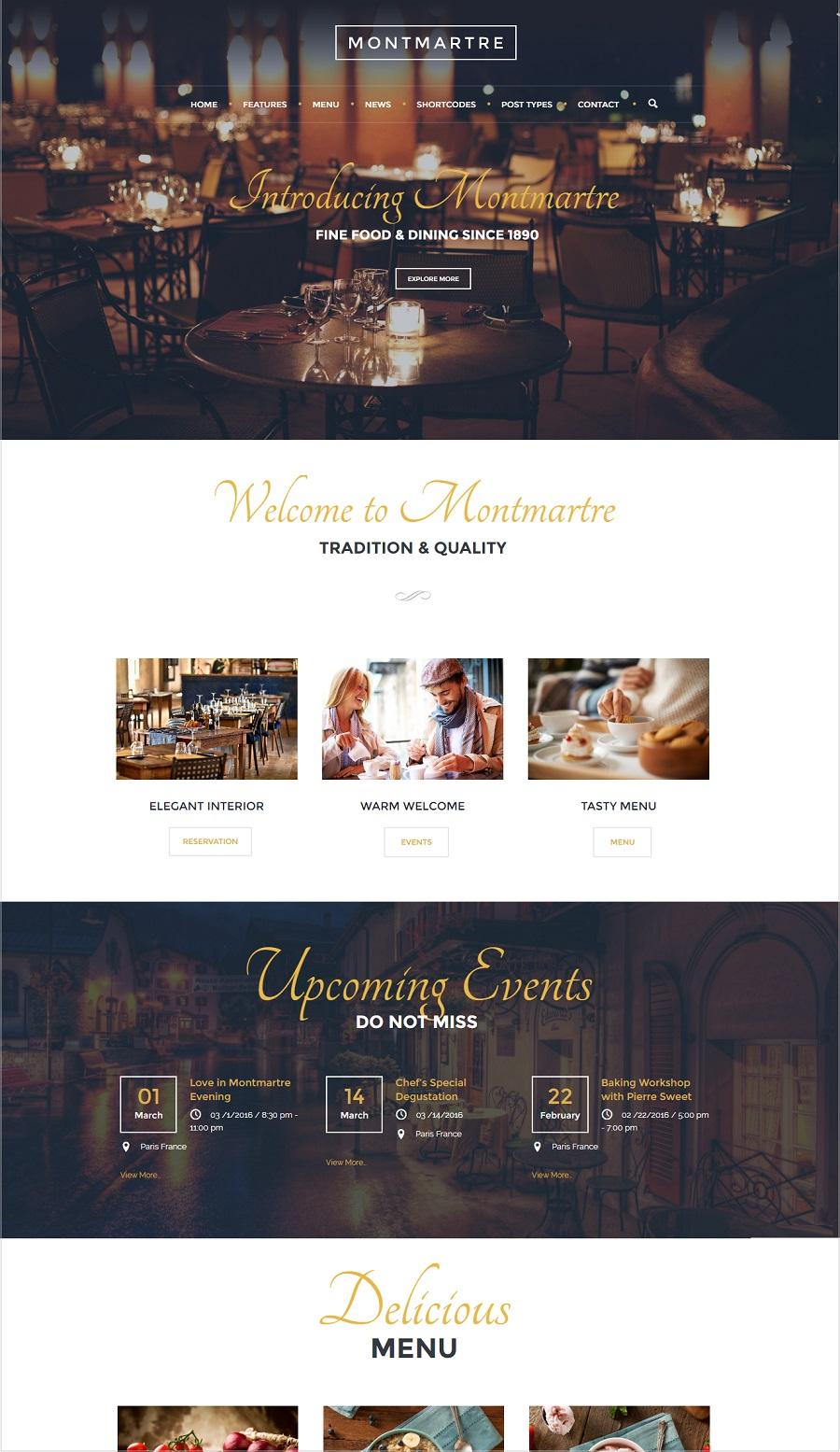 montmartre restaurant wordpress theme