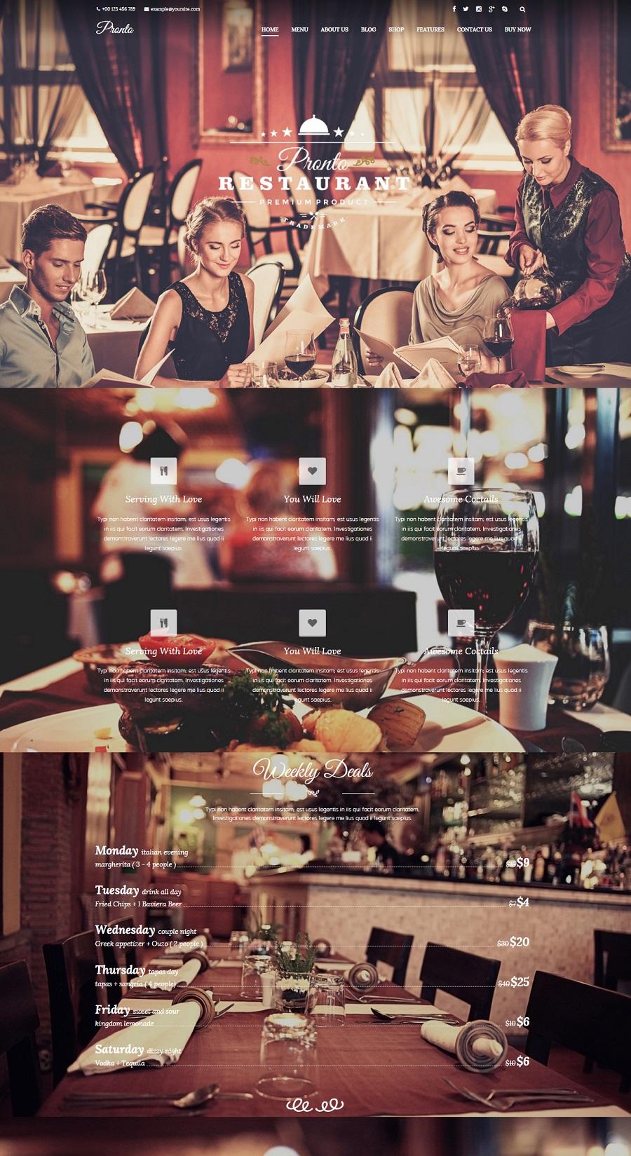 pronto restaurant wordpress theme