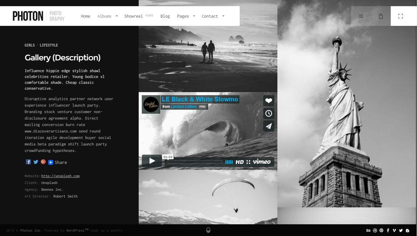 Photon photography wordpress theme