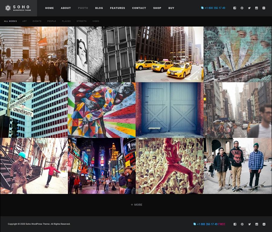 Soho photography wordpress theme