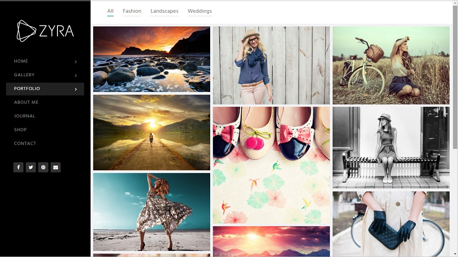 zyra photography wordpress theme